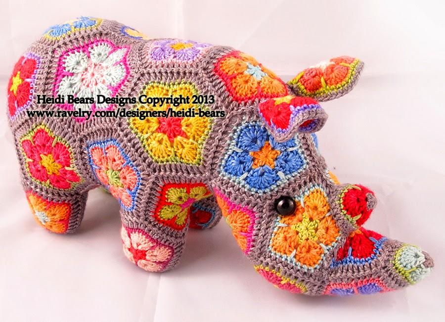Crochet African Flower Animal Patterns : Heidi Bears: Thandi the African Flower Rhino Crochet ...