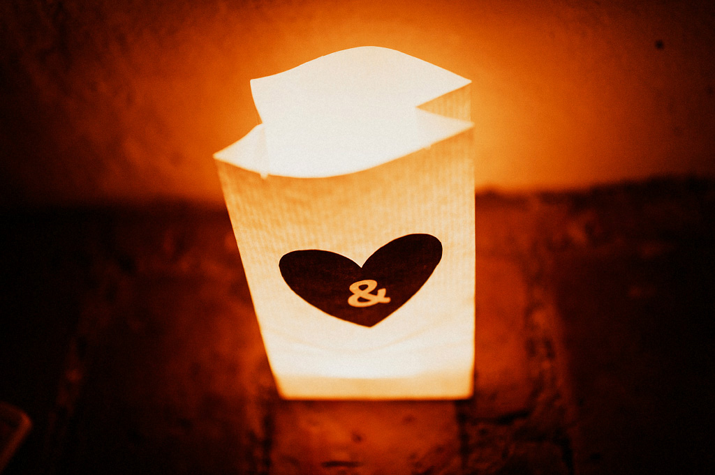 Ljus i påse bröllopsdekoration