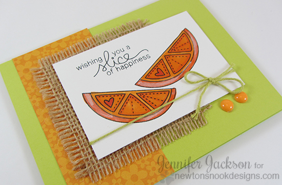 Orange slice fruit card by Jennifer Jackson for Newton's Nook Designs | Sweet Summer Stamp Set