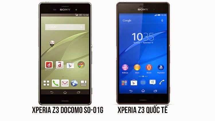 So sánh Xperia Z3 Docomo và Xperia Z3 Docomo chính hãng