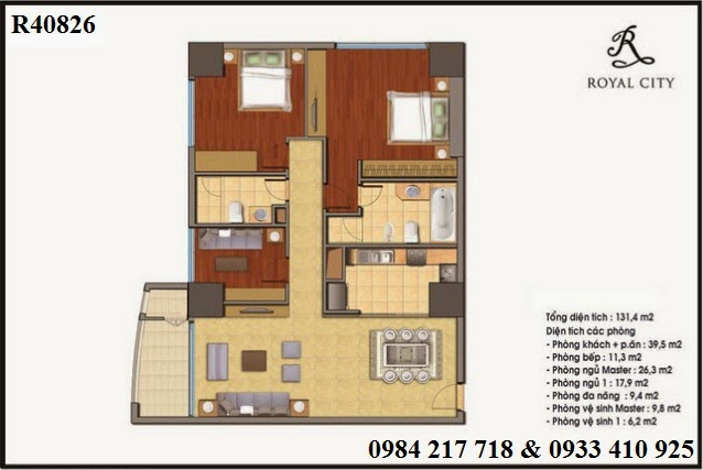 Chung cư Hà Nội mở bán căn hộ R40826 Royal City diện tích 131.4 m2 giá tốt 6 tỷ 015 triệu