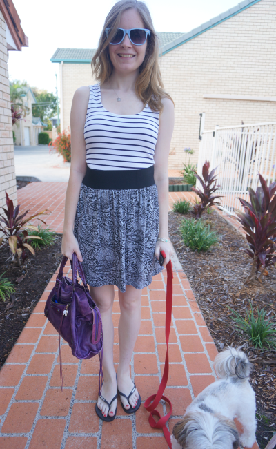 pattern mix striped tank paisley print skirt summer outfit aussie blogger