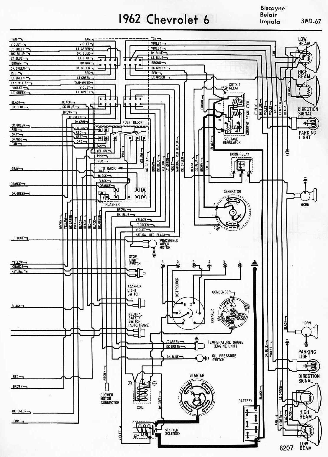 Electrical+Wiring+Diagram+Of+1964+Chevrolet+6 electrical wiring diagram of 1962 chevrolet 6 all about wiring 1967 Impala Wiring Diagram at webbmarketing.co