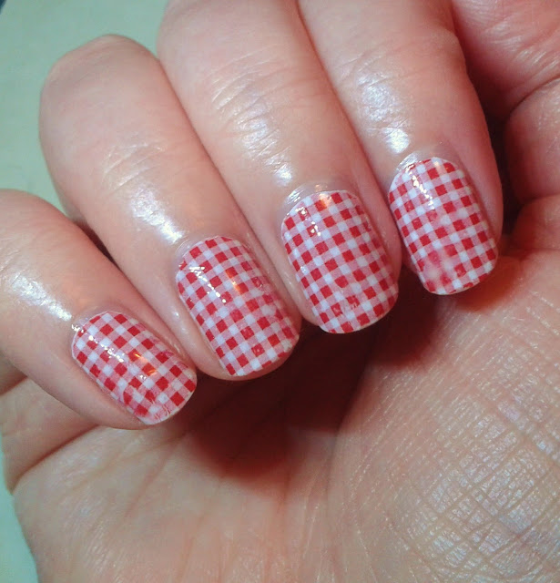 YR Nails Decals ~ Cheesecloth Red Check