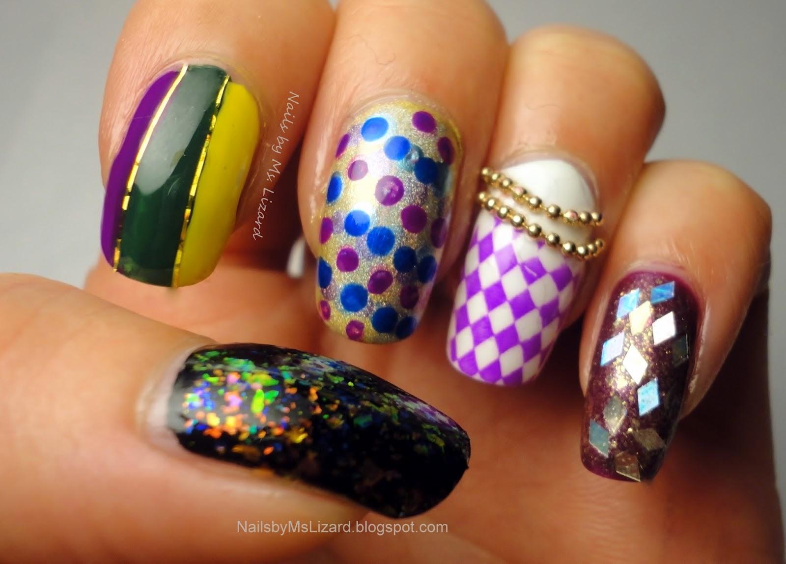 Dorable Mardi Gras Nails Designs Composition - Nail Art Ideas ...