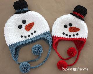 http://www.repeatcrafterme.com/2012/10/crochet-snowman-hat-pattern.html