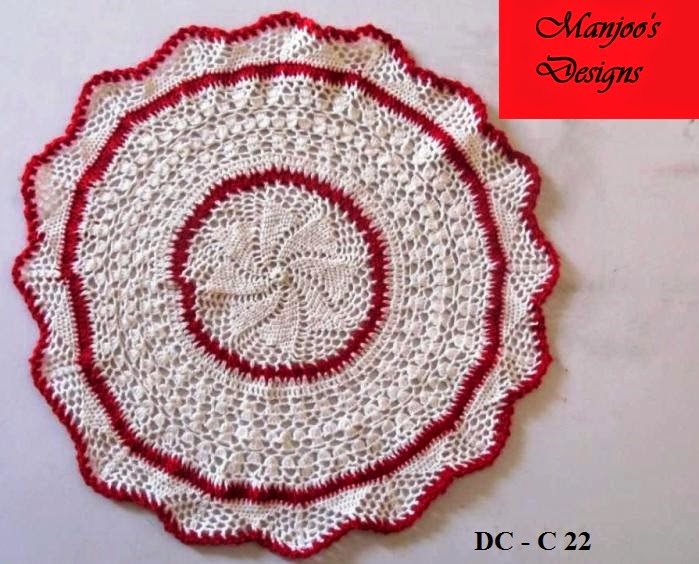 Manjoos Designs: Crochet Doily by Indian Crochet Designer Manjoo
