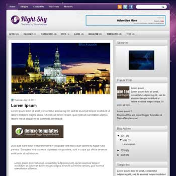 NightSky blogger template. template blogspot magazine style