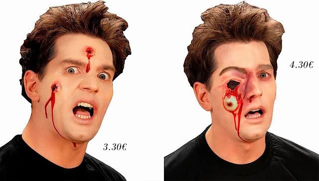 Maquillaje Halloween ojo caído y disparos de bala