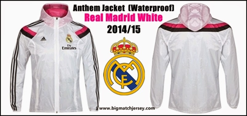 Jaket Parasut Waterproof Real Madrid Home White Official 2014 - 2015 Depan Belakang