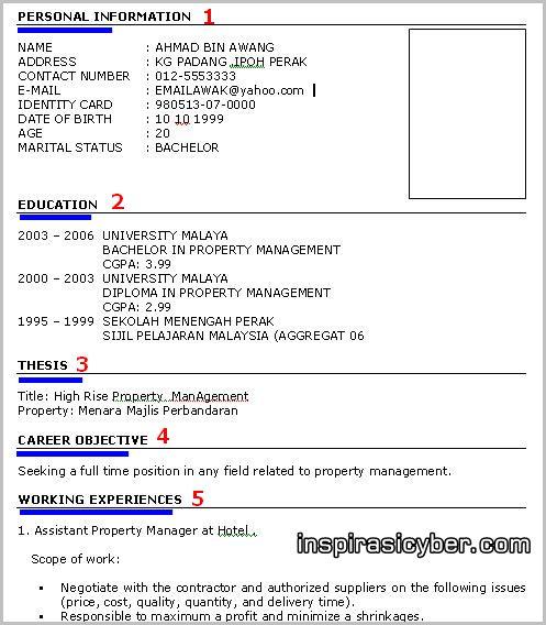 koleksi contoh resume lengkap terbaik dan terkini