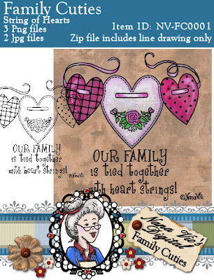 Digital Stamp, String of Hearts from the Family Cuties Collection