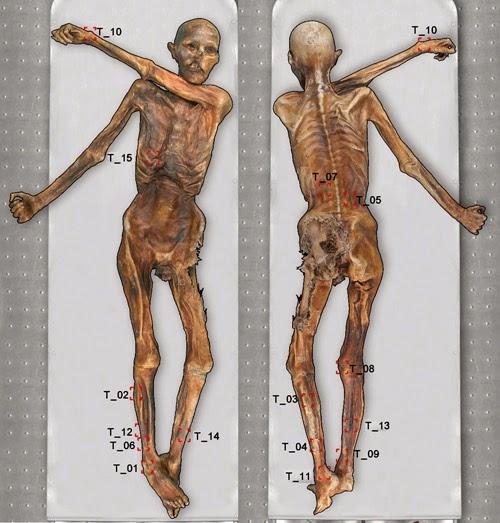 Ötzi: I tatuaggi fotografati con tecniche multispettrali
