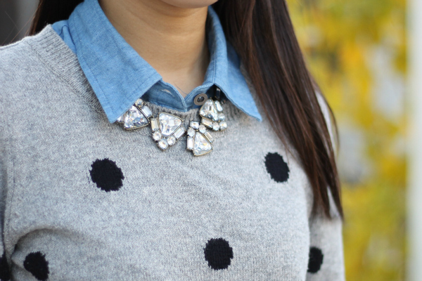 polka dot sweater outfit