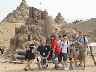 Students are immersed in the cultural of China, like this sand sculpture.