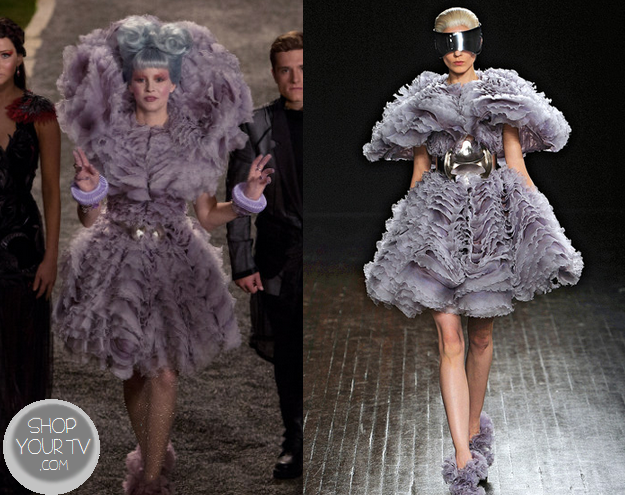Catching Fire: Effie's Purple Frilled Layered Dress & Shoes