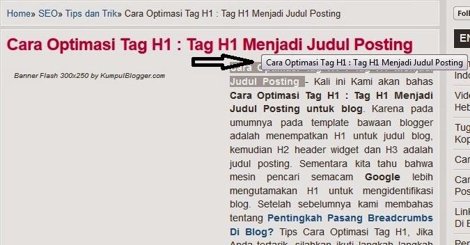 Cara Pasang Title Text Otomatis Pada Judul Postingan