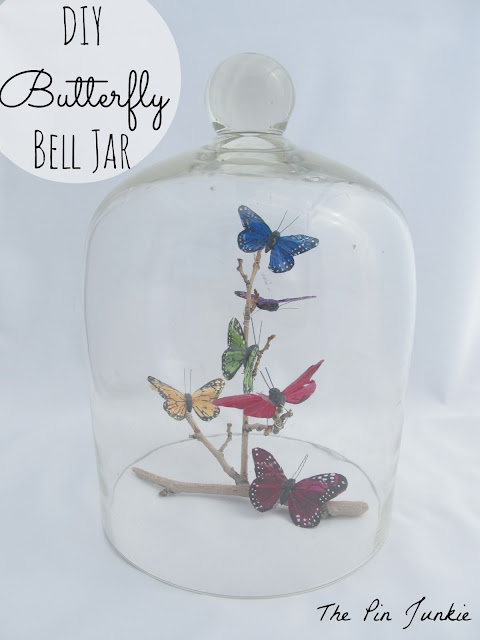 diy butterfly bell jar