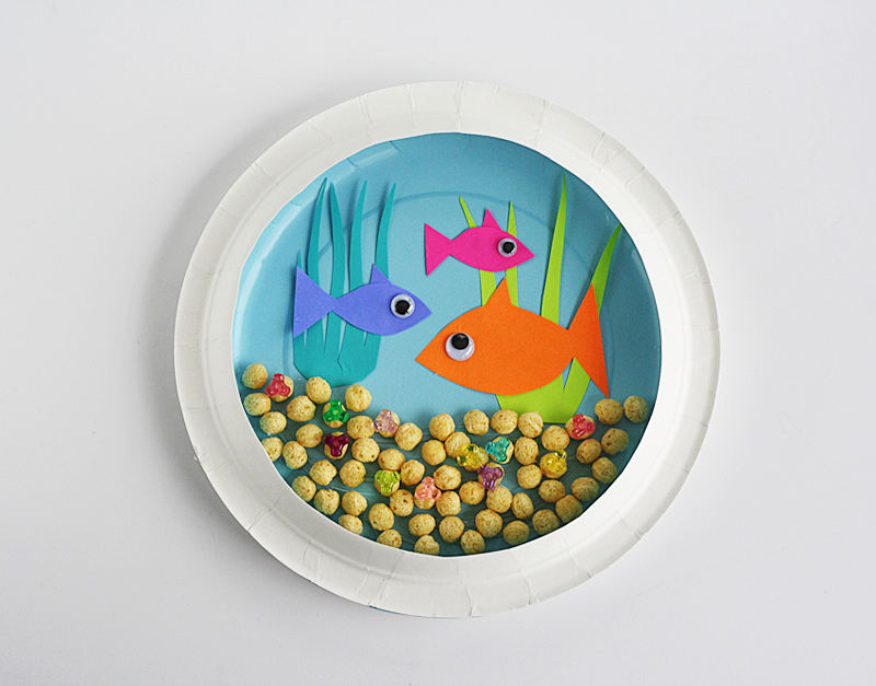 Paper plate fish bowl munchkins and mayhem for How to make a fish bowl