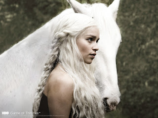 Emilia Clarke Daenerys Targaryen with White Horse Game of Thrones HD Wallpaper