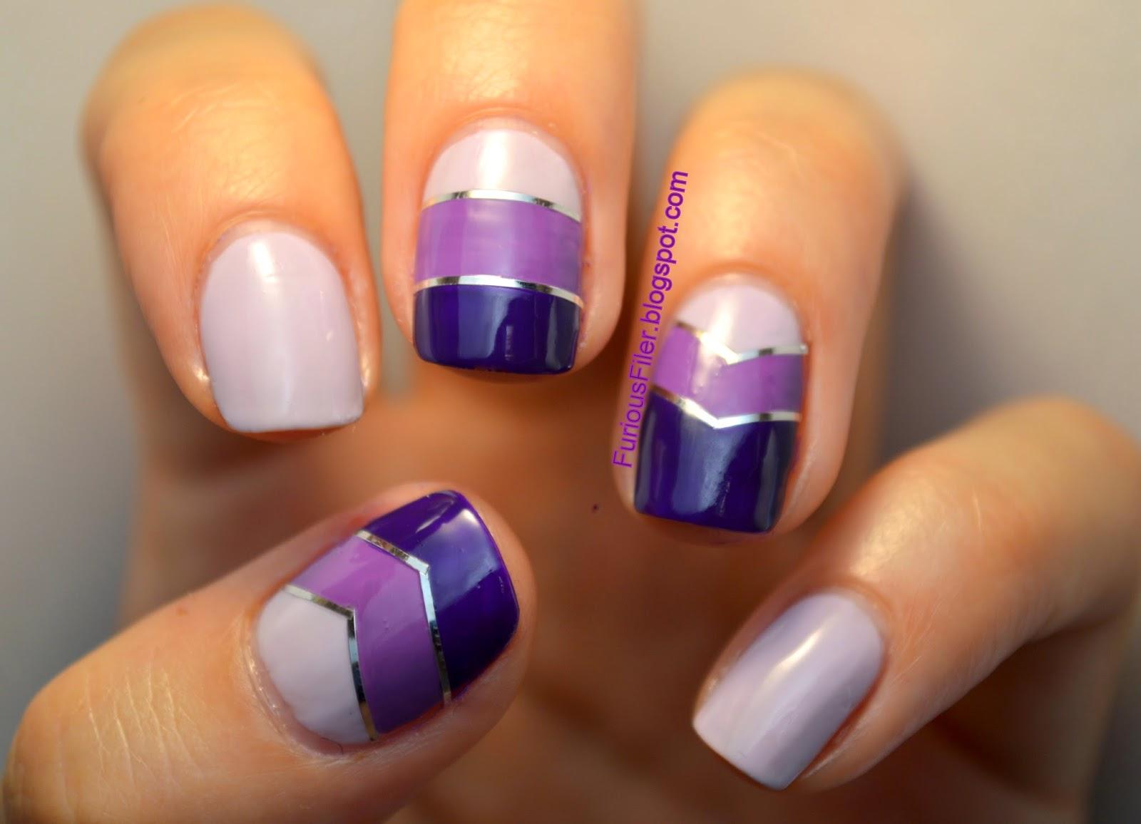 puple ombre striping tape chevrons nail art