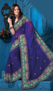 Georgette-Stylish-Embroidered-Saree