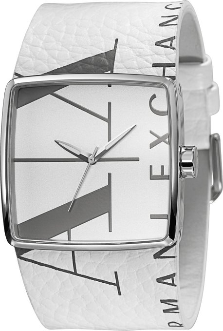 Armani Exchange Women's AX6000 White Leather Quartz Watch with White Dial