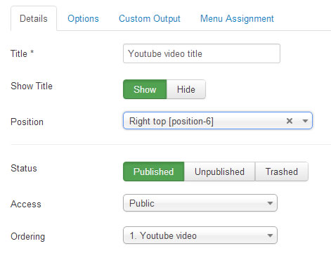 configuring youtube video details