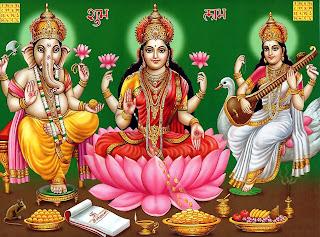 Saraswati Mata - Laxmi Devi - Ganesha in one picture