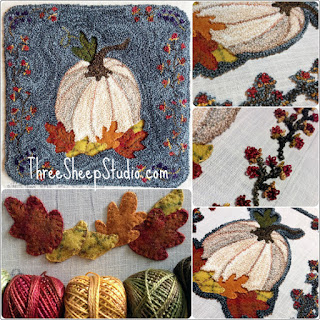 'Indian Summer' mixed media Punch Needle design by Rose Clay at ThreeSheepStudio.com