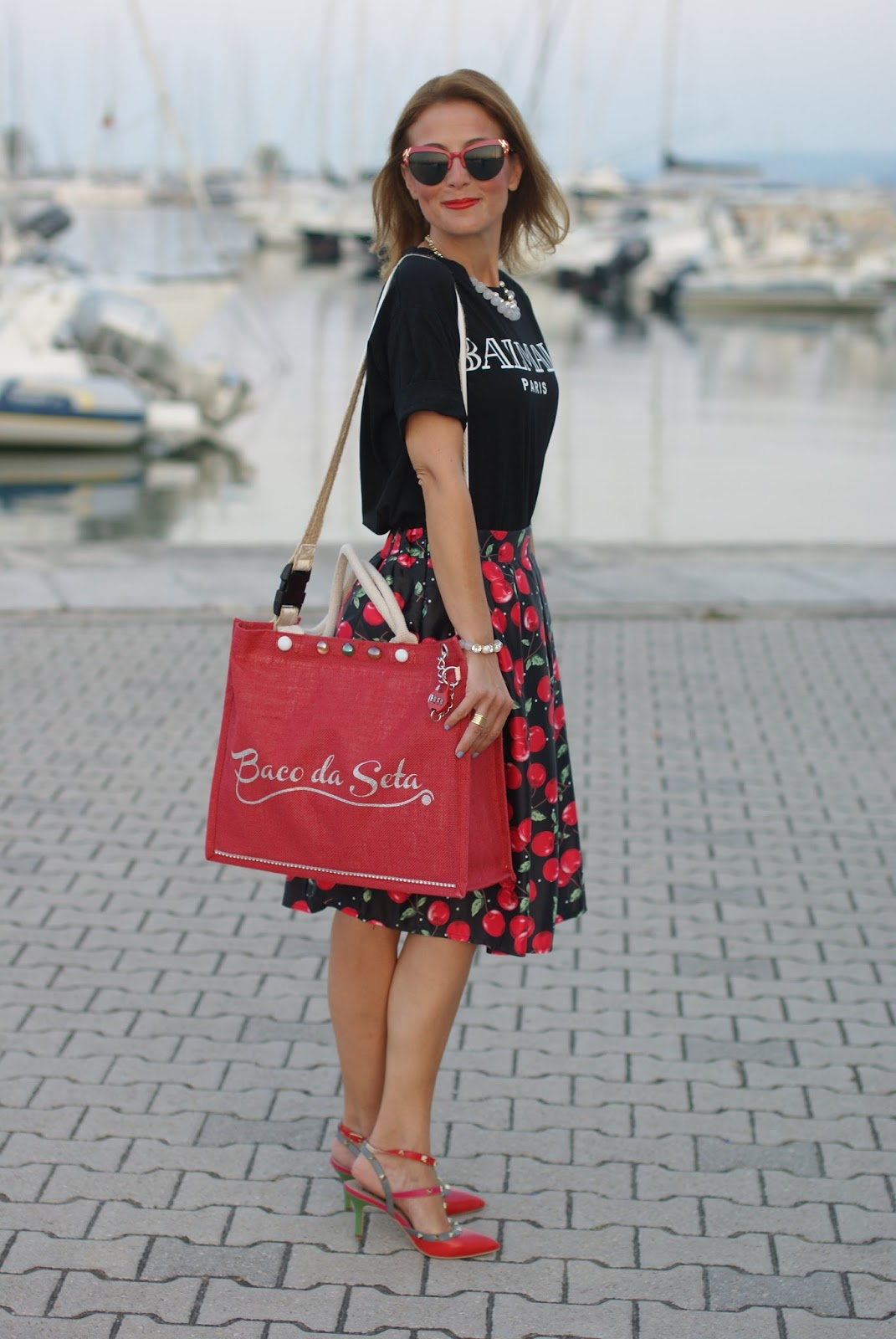 rockstud shoes and cherrty print midi skirt on Fashion and Cookies fashion blog