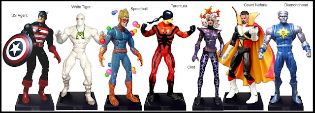 <b>Wave 27</b>: USAgent, White Tiger, Speedball, Tarantula, Clea, Count Nefaria and Diamondhead