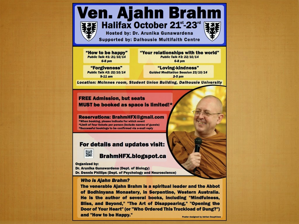 Halifax Progarm Update Ajahn Brahm In Canada, October 1723, 2014: Toronto,  Montreal
