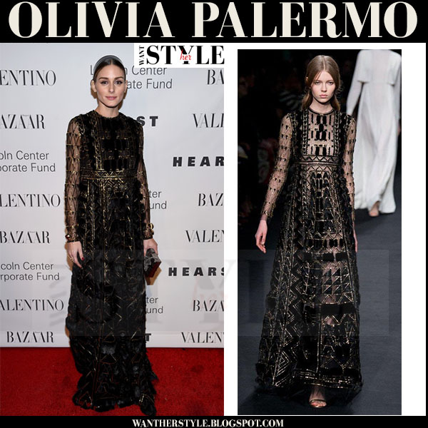 Olivia Palermo in black embellished Valentino gown valentino gala 2015 what she wore red carpet