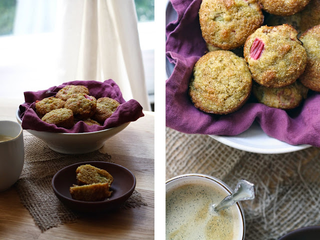 Gluten-Free Roasted Rhubarb + Cornmeal Muffins   Sevengrams