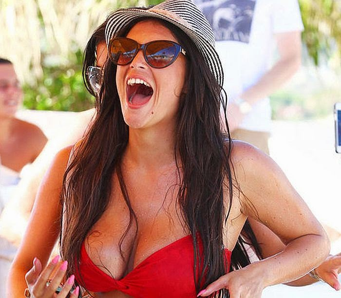 In just a few hours, Casey Batchelor was spotted making her way to joined a pool party with her female friends during a vacation in Ibiza on Monday, June 28, 2014