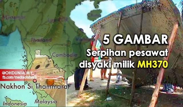 Serpihan Pesawat Disyaki Milik MH370 Ditemui Di Thailand