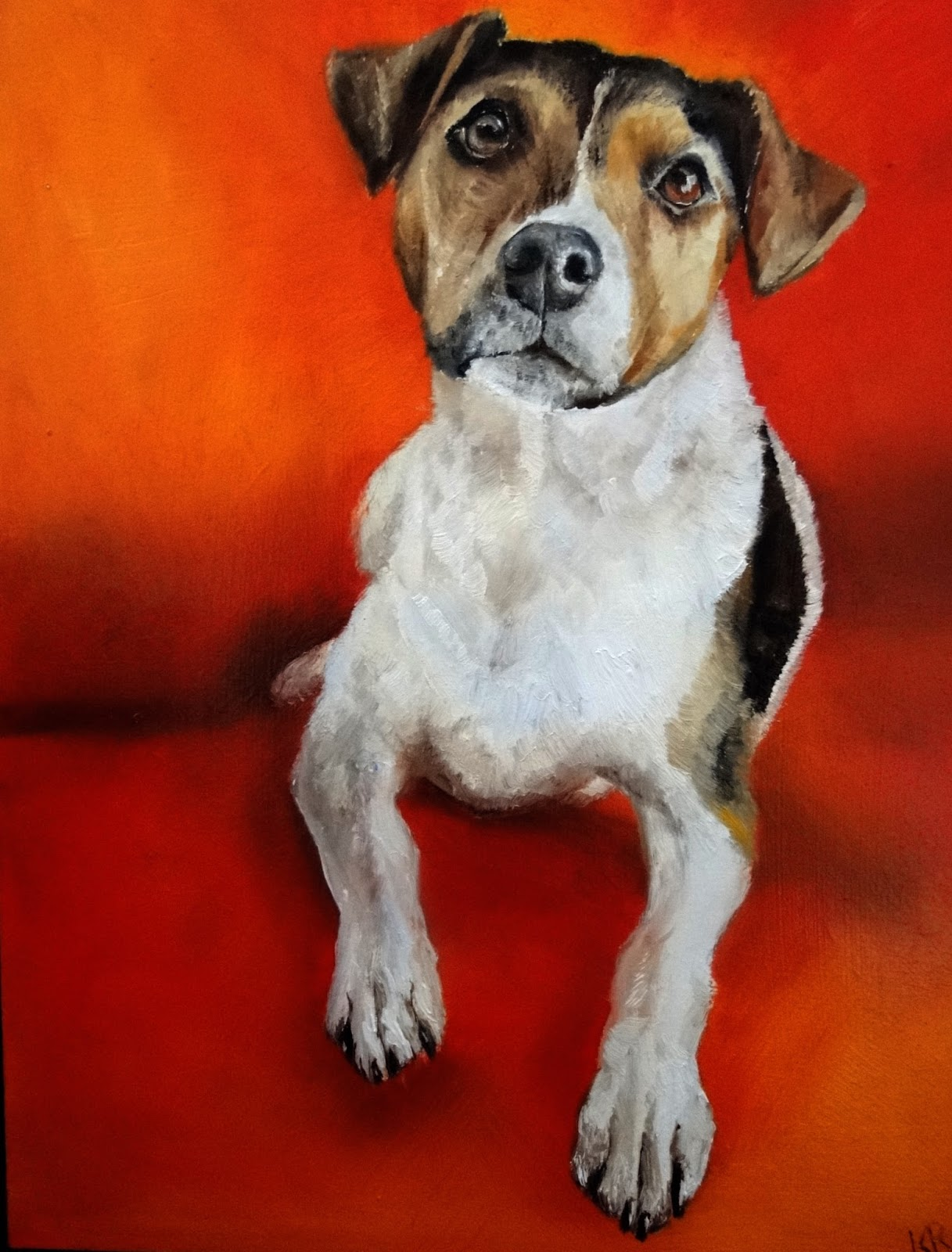 Jack Russell Terrier, an oil painting with a red background, a pet portrait by karen, a dog portrait, animal artist