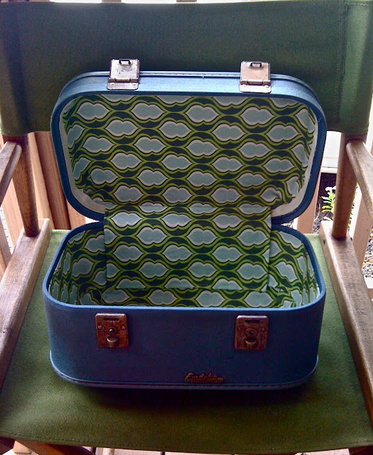upcycled train case after