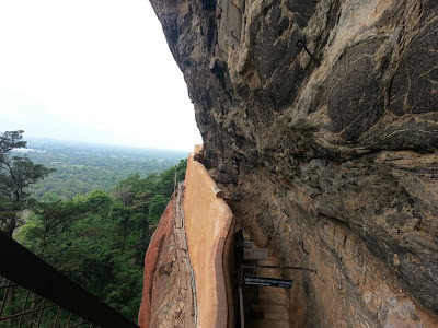 Top view on Mirror Wall, Sigiriya, Sri Lanka, wavy shape, some kind of porcelain, photo, mystery