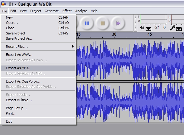 how to make track on audacity
