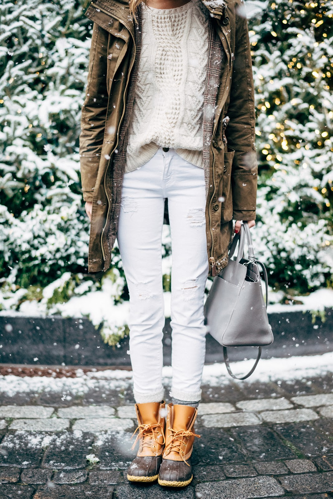 winter white outfit duck boots