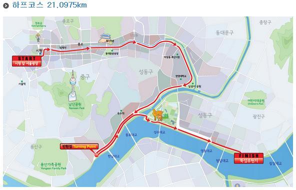 Recorrido del medio maratón HiSeoul En Seúl