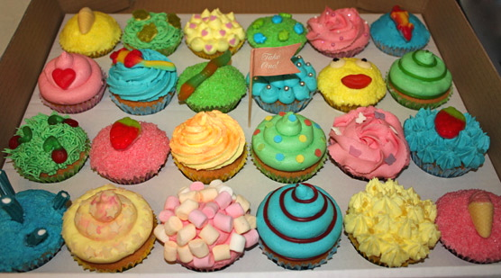Crazy Coloured Sweet Encrusted Cupcakes