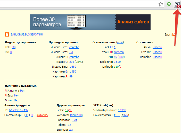 инструменты анализа сайта: rds bar