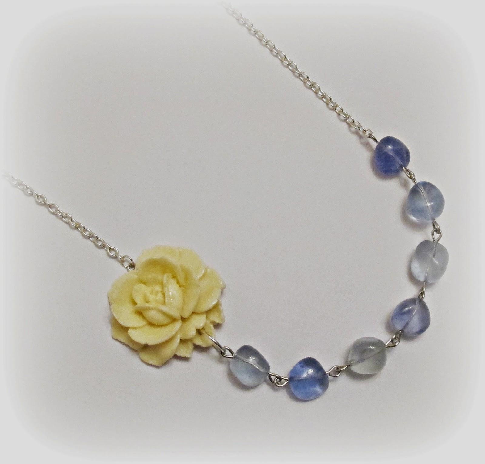 image asymmetrical necklace yavanna rose cream blue stone agate two cheeky monkeys