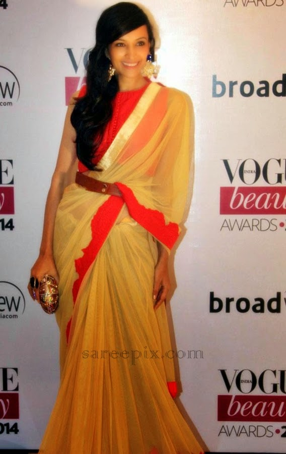 Dipannita sharma in saree at Vogue beauty awards 2014 ...