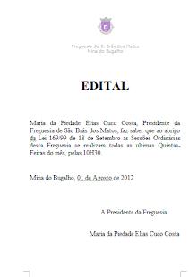 EDITAL - REUNIÕES DO EXECUTIVO DA FREGUESIA DE SÃO BRÁS DOS MATOS