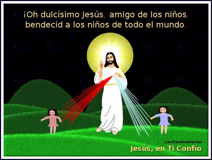 foto en la noche jesus con niñas