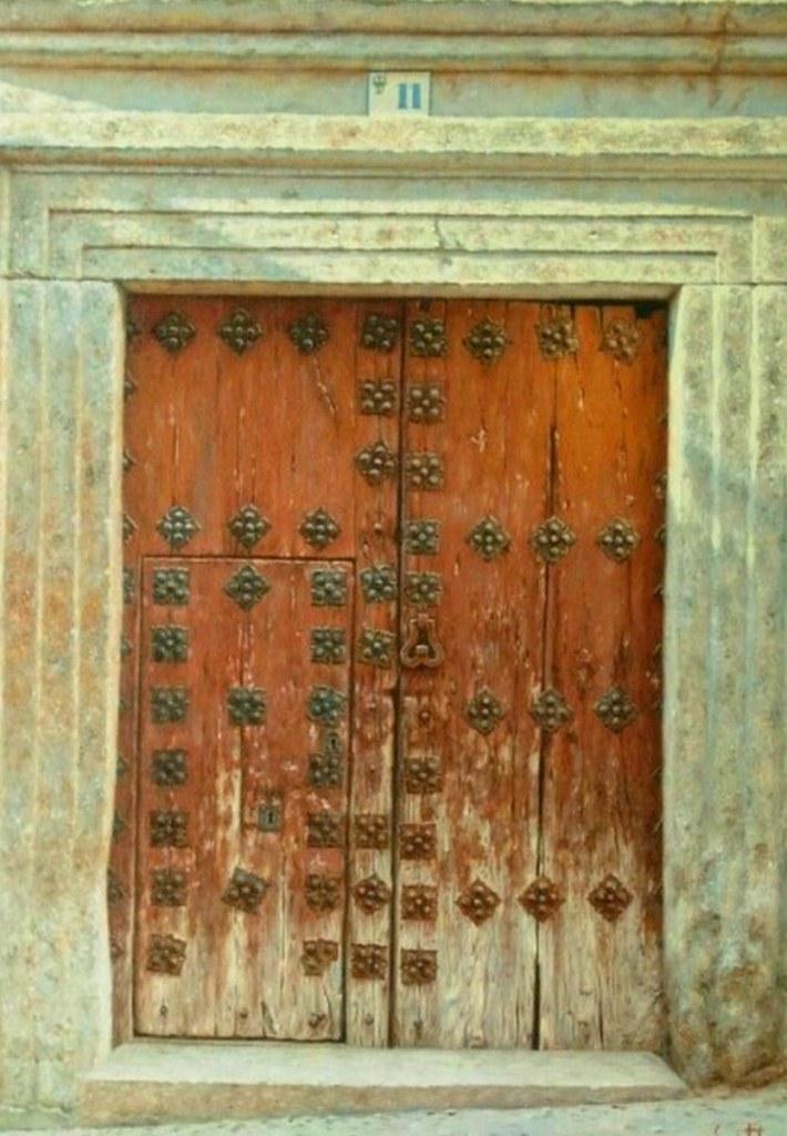 Cuadros pinturas oleos portones antiguos al leo for Pintar puertas de madera viejas
